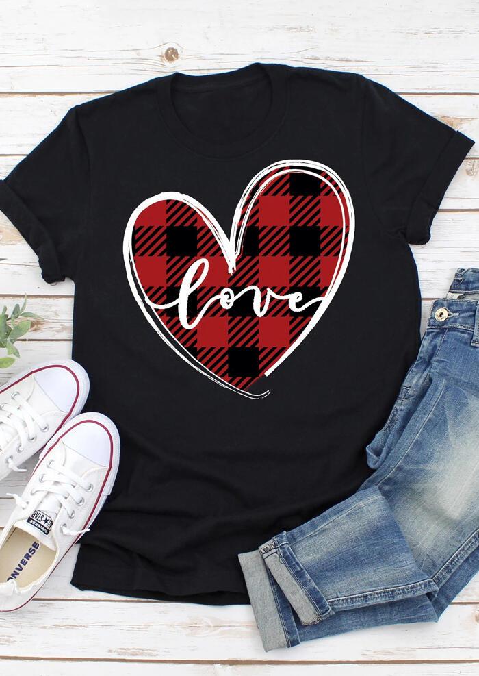 Love Heart Plaid Printed Splicing T-Shirt Tee - Black фото