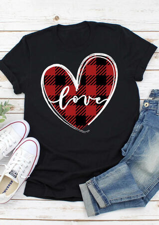Valentine Love Heart Plaid Printed Splicing T-Shirt Tee - Black