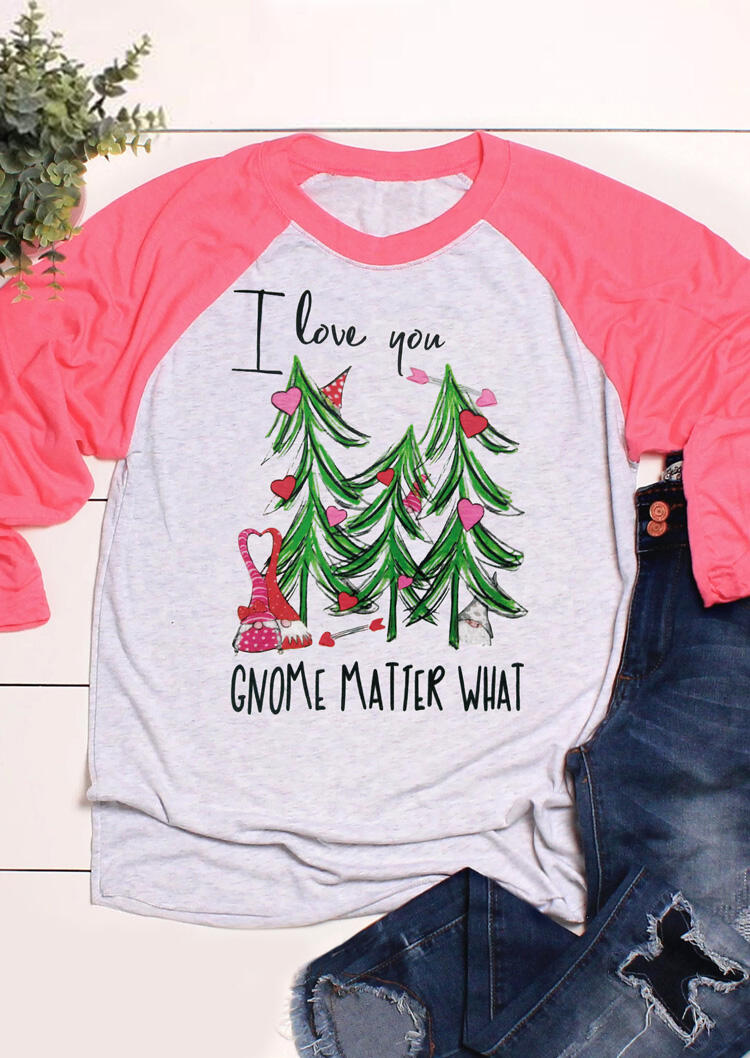 I Love You Gnome Matter What T-Shirt Tee - Pink, 460882