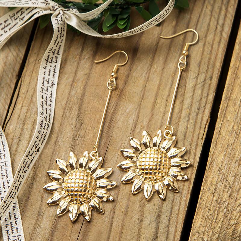 Solid Long Chain Sunflower Pendant Earrings