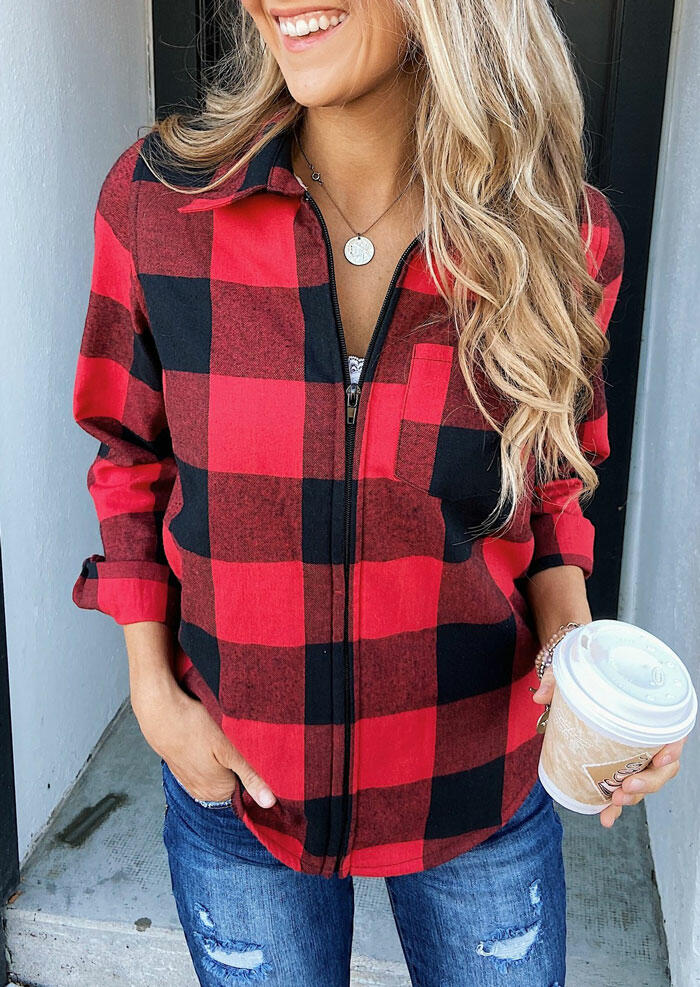 Plaid Pocket Zipper Long Sleeve Coat without Necklace - Red фото