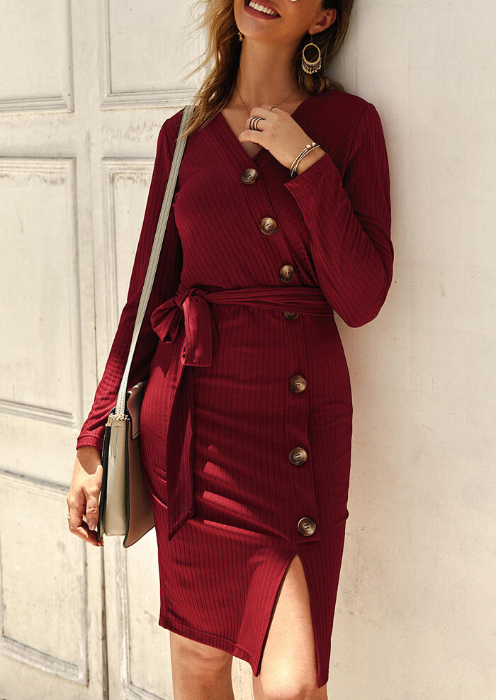 Solid Button Slit Knitted Mini Dress without Necklace – Burgundy