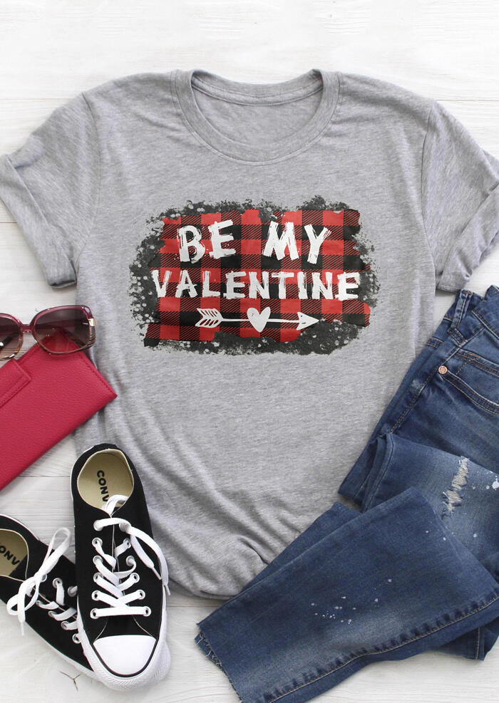 Tees T-shirts Plaid Splicing Be My T-Shirt Tee in Light Grey. Size: M фото
