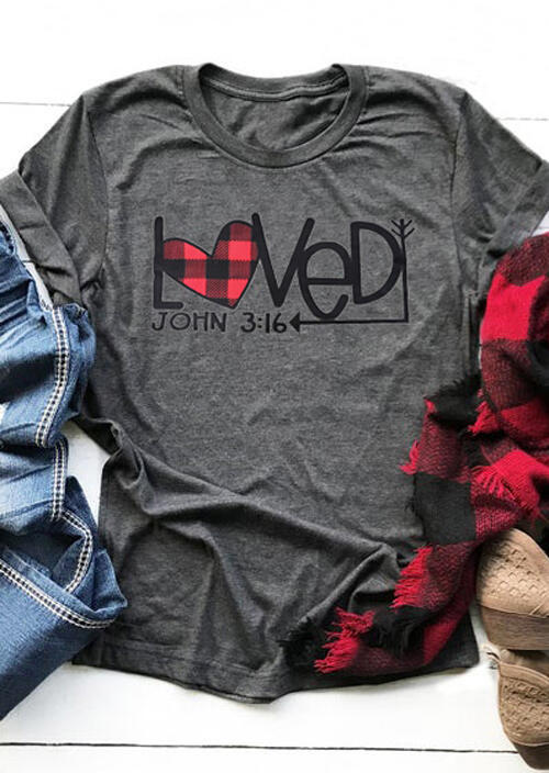 Plaid Splicing Loved Arrow O-Neck T-Shirt Tee – Dark Grey