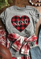 Plaid Heart Xoxo T-Shirt Tee - Gray