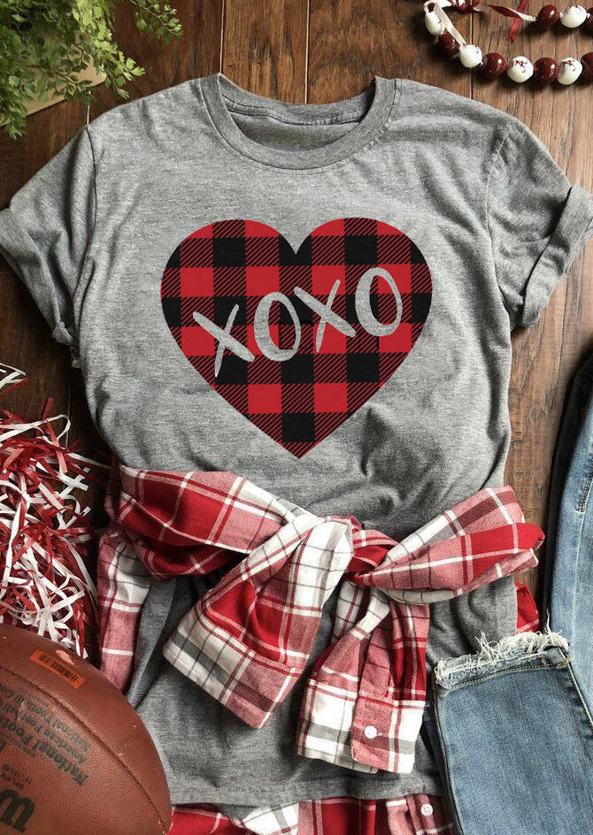 Tees T-shirts Valentine Plaid Splicing Xoxo Heart T-Shirt Tee - Gray. Size: S,M,,XL