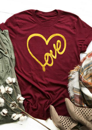 Valentine Love Heart T-Shirt Tee - Burgundy