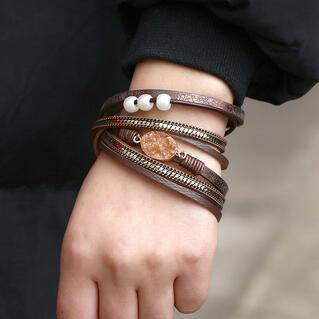 Vintage Multi-Layered Stone Beading Bracelet