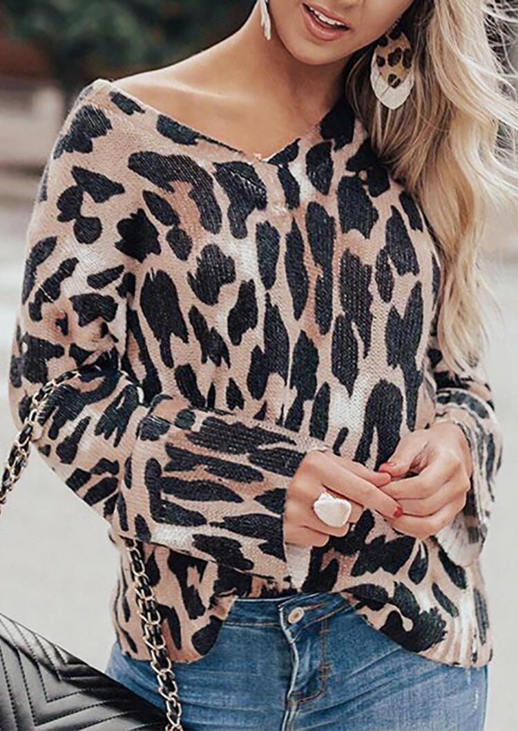 Leopard Printed V-Neck Long Sleeve Blouse