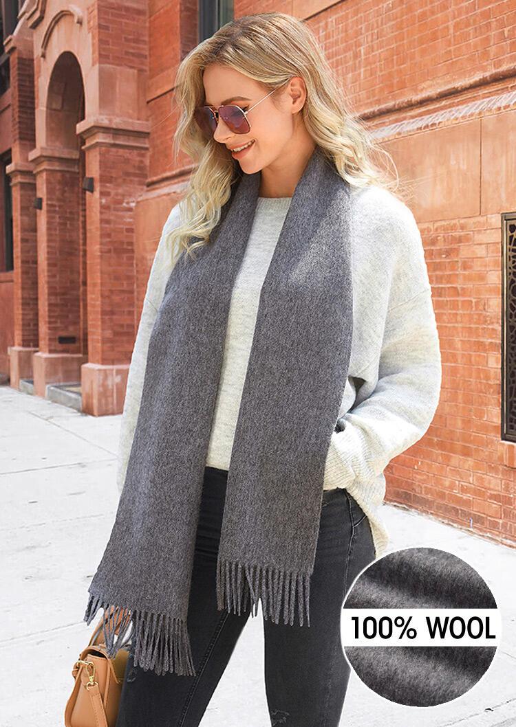 Feelily Solid Tassel Soft Classic 100% Wool Scarf фото