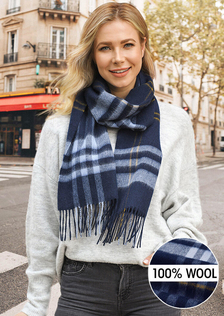 Scarves Feelily Plaid Tartan Tassel Soft Classic 100% Wool Scarf in Navy Blue. Size: One Size фото