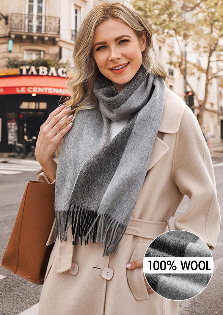 Feelily Striped Color Block Tassel Soft 100% Wool Scarf фото