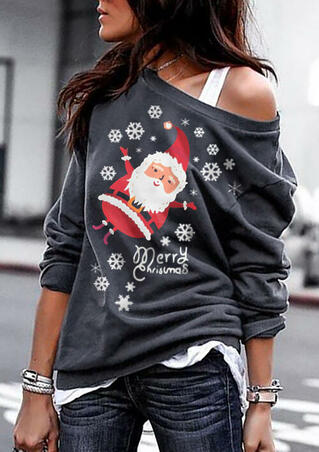 Merry Christmas Snowflake Santa Sweatshirt - Dark Grey