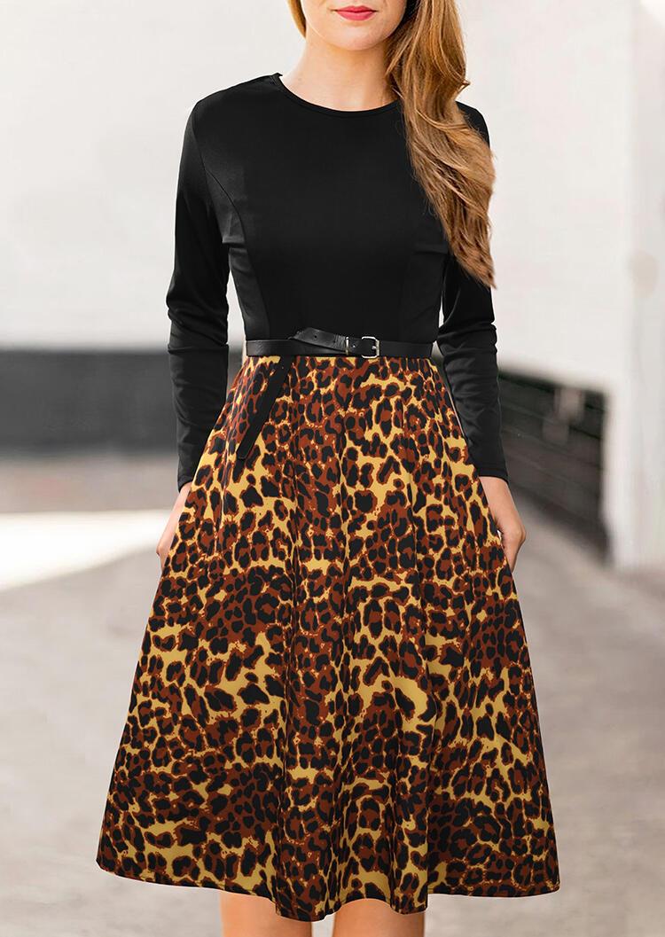 Mini Dresses Leopard Printed Splicing Mini Dress in Black. Size: L фото
