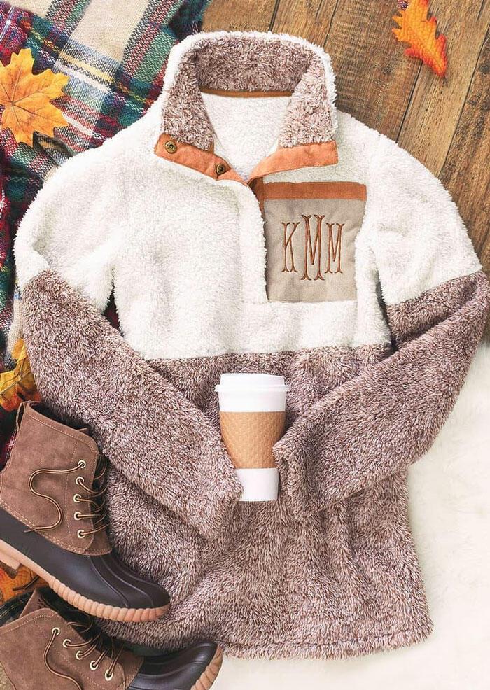 Monogrammed Color Block Button Plush Sweatshirt – Beige