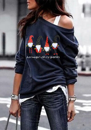 Just Hangin' with My Gnomies Sweatshirt without Necklace - Navy Blue