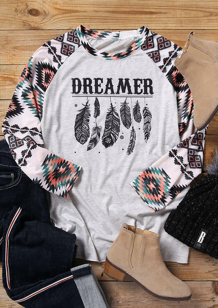 Dreamer Feathers Aztec Geometric Printed T-Shirt Tee – White