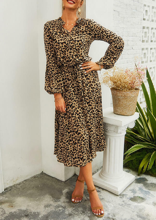 Leopard Printed Drawstring Casual Dress without Necklace
