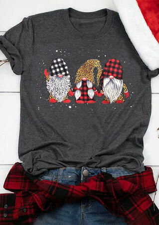 Plaid Leopard Printed Gnomies T-Shirt Tee - Dark Grey