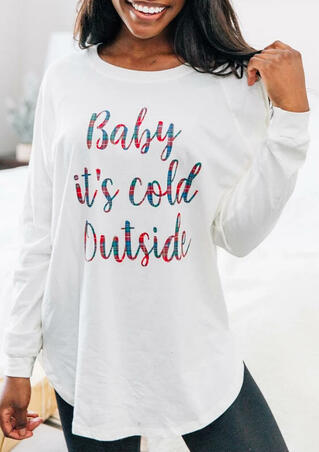 Baby It's Cold Outside Long Sleeve Blouse - White