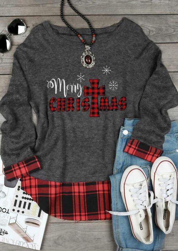 Plaid Christ Merry Christmas Snowflake T-Shirt Tee - Gray