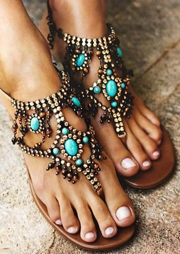 Beading Flip Flops Flat Sandals - Brown фото