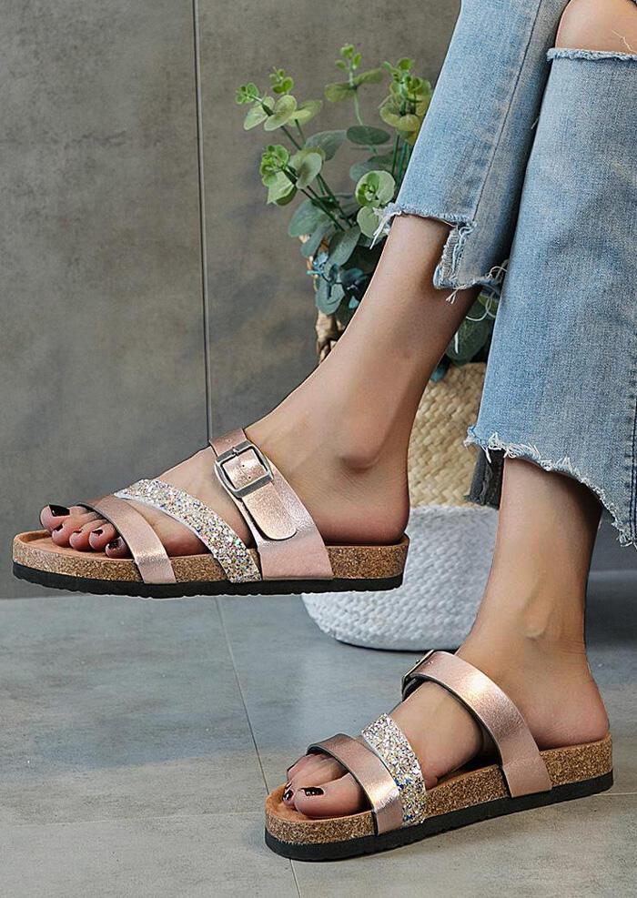 Glitter Buckle Strap Flat Sandals