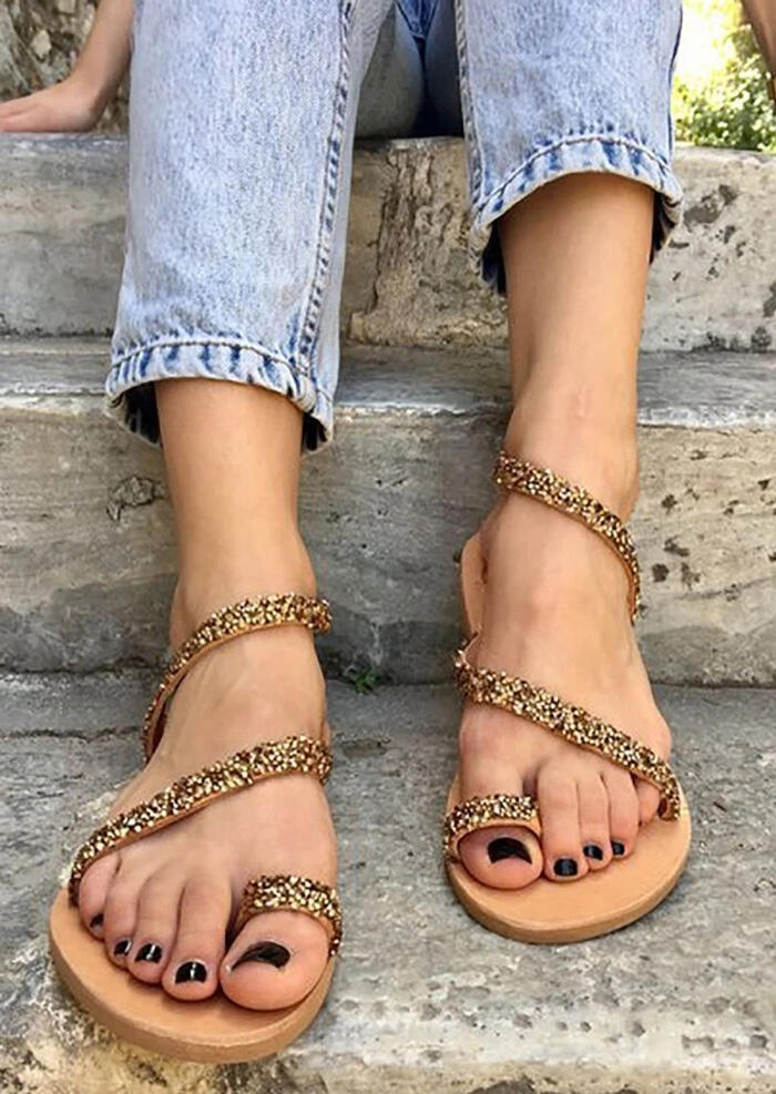 Solid Round Toe Flat Sandals