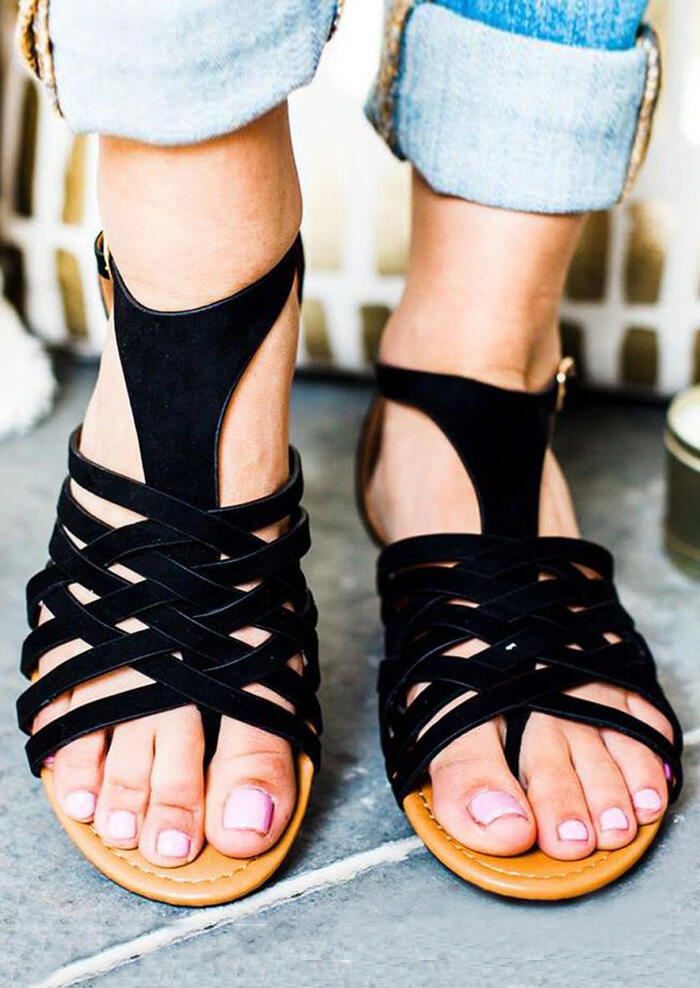 Solid Criss-Cross Buckle Strap Sandals – Black