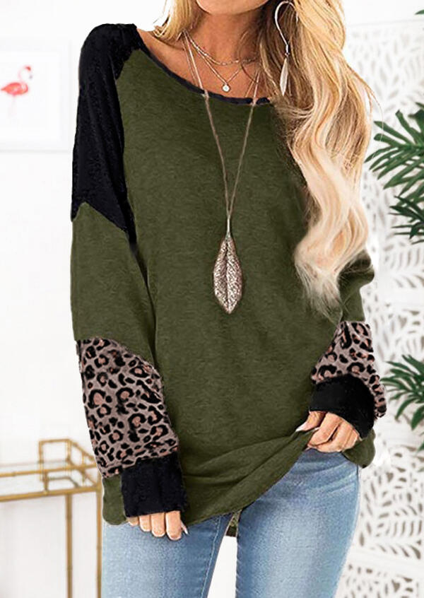 Color Block Leopard Printed Splicing Blouse without Necklace – Army Green