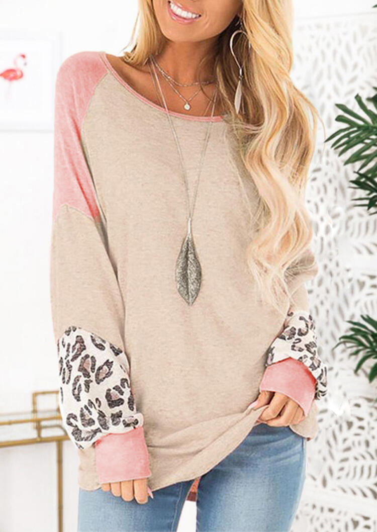 Color Block Leopard Printed Splicing Blouse without Necklace – Apricot
