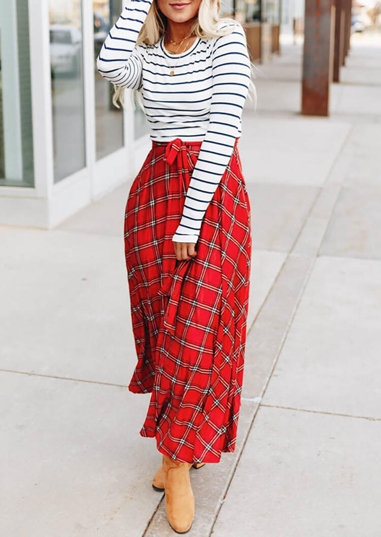 Plaid Striped Printed Splicing Pocket Maxi Dress without Necklace – Red