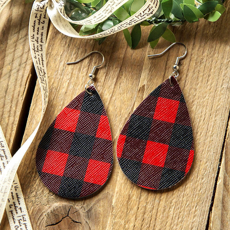 Dual-Sided Plaid Leather Earrings