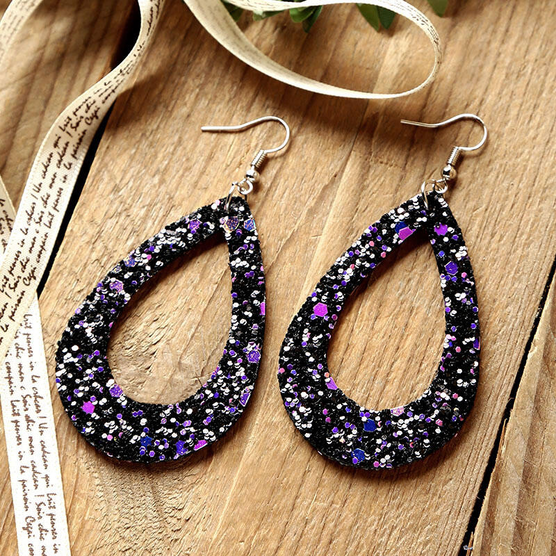 Hollow Out Dual-Sided Sequined PU Leather Earrings фото