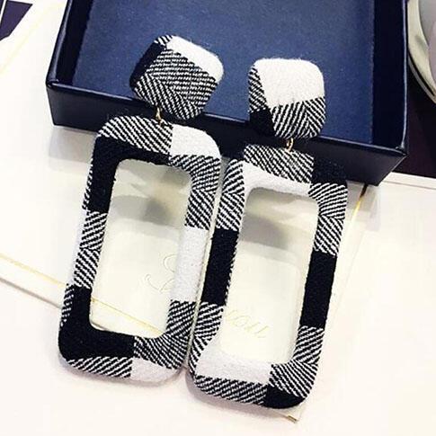Plaid Rectangular-Shaped Stylish Earrings фото