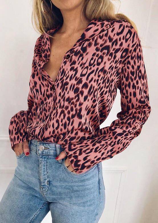 Leopard Printed Button Long Sleeve Shirt