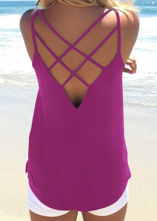 Tank Tops Hollow Out Backless Camisole in White,Gray,Purple. Size: S,M,L,XL фото