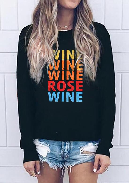 Wine Rose Sweatshirt without Necklace – Black