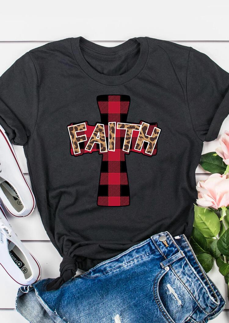 Faith Cross Christ Plaid Leopard Printed T-Shirt Tee - Gray фото