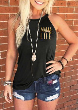 Mama Life Halter Tank without Necklace - Black