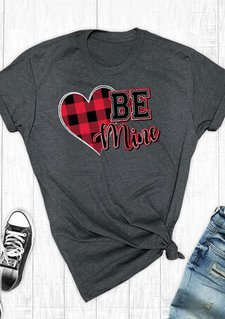 Valentine Be Mine Plaid Printed Splicing T-Shirt Tee - Dark Grey