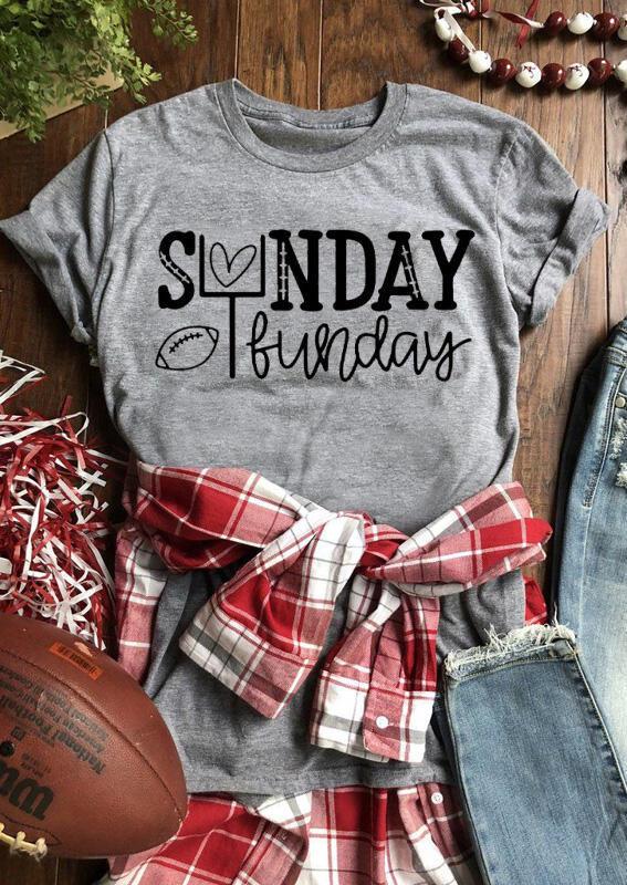 Sunday Funday Football Heart T-Shirt Tee – Gray