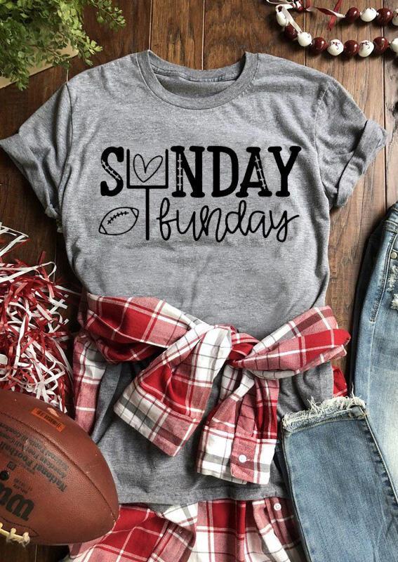 Tees T-shirts Sunday Funday Football Heart T-Shirt Tee - Gray. Size: S фото
