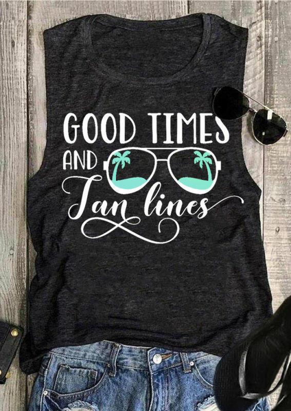Good Times And Tan Lines Tank - Dark Grey thumbnail
