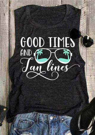Good Times And Tan Lines Tank - Dark Grey