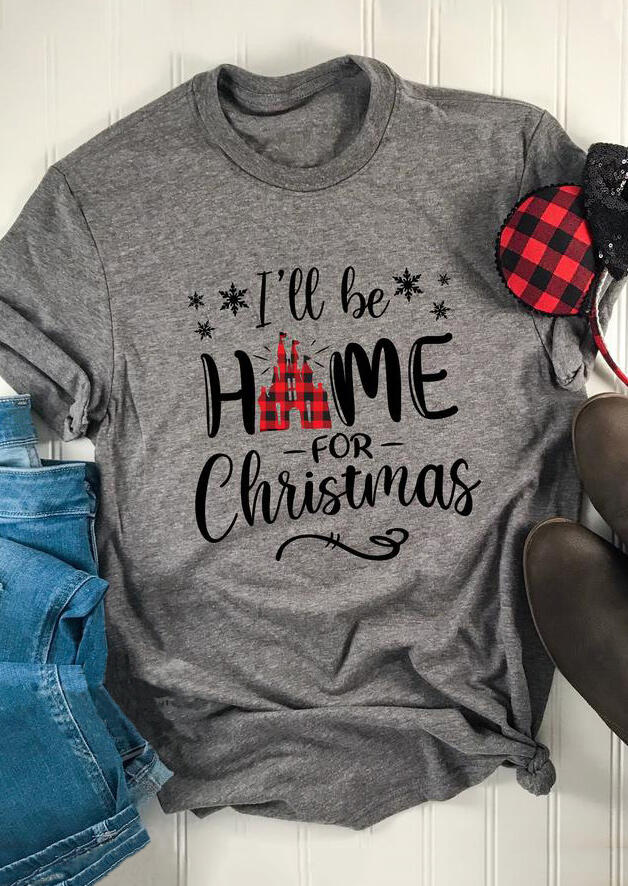 I'll Be Home For Christmas Plaid Printed Splicing T-Shirt Tee – Gray