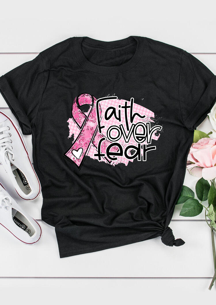 Faith Over Fear Breast Cancer Pink Ribbon T-Shirt Tee - Black фото