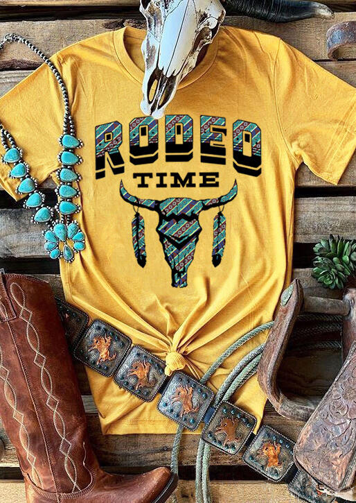 Rodeo Time Steer Skull Feather T-Shirt Tee – Yellow