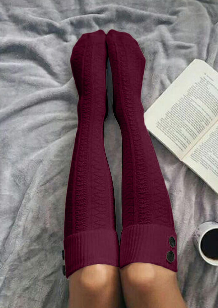 Solid Button Warm Thigh-High Crimping Socks