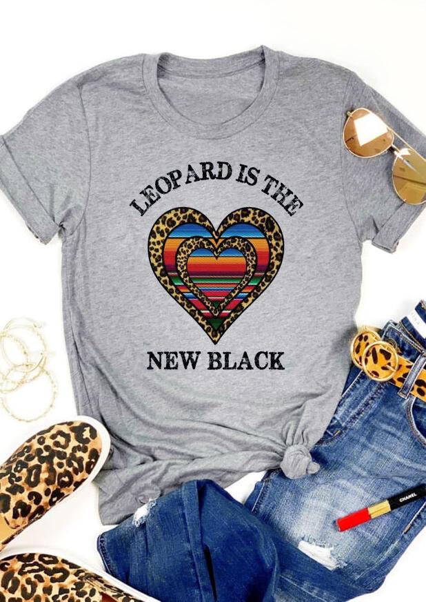 Leopard Is The New Black Heart T-Shirt Tee – Light Grey